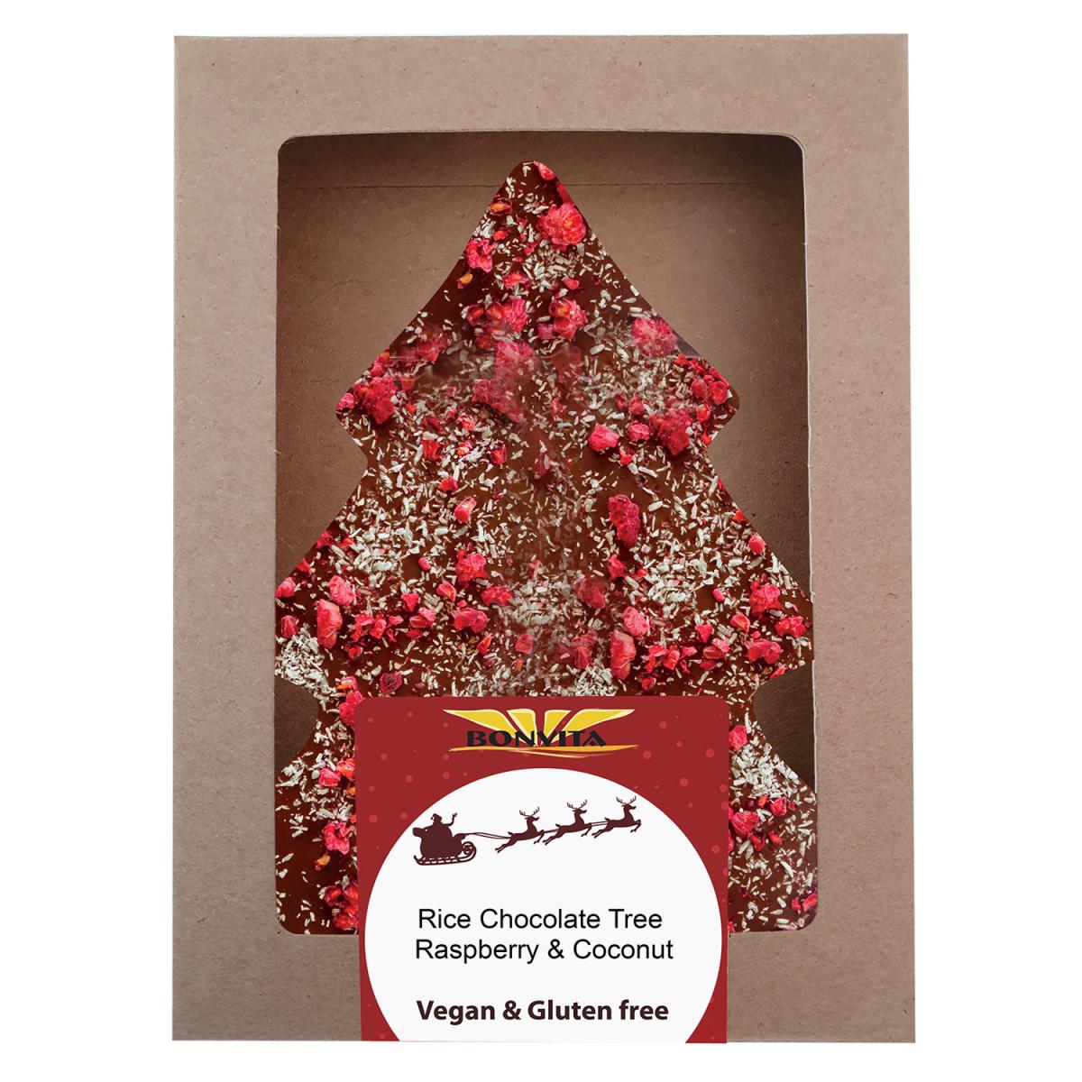 Vegan Chocolade Kerstboom Framboos & Kokos