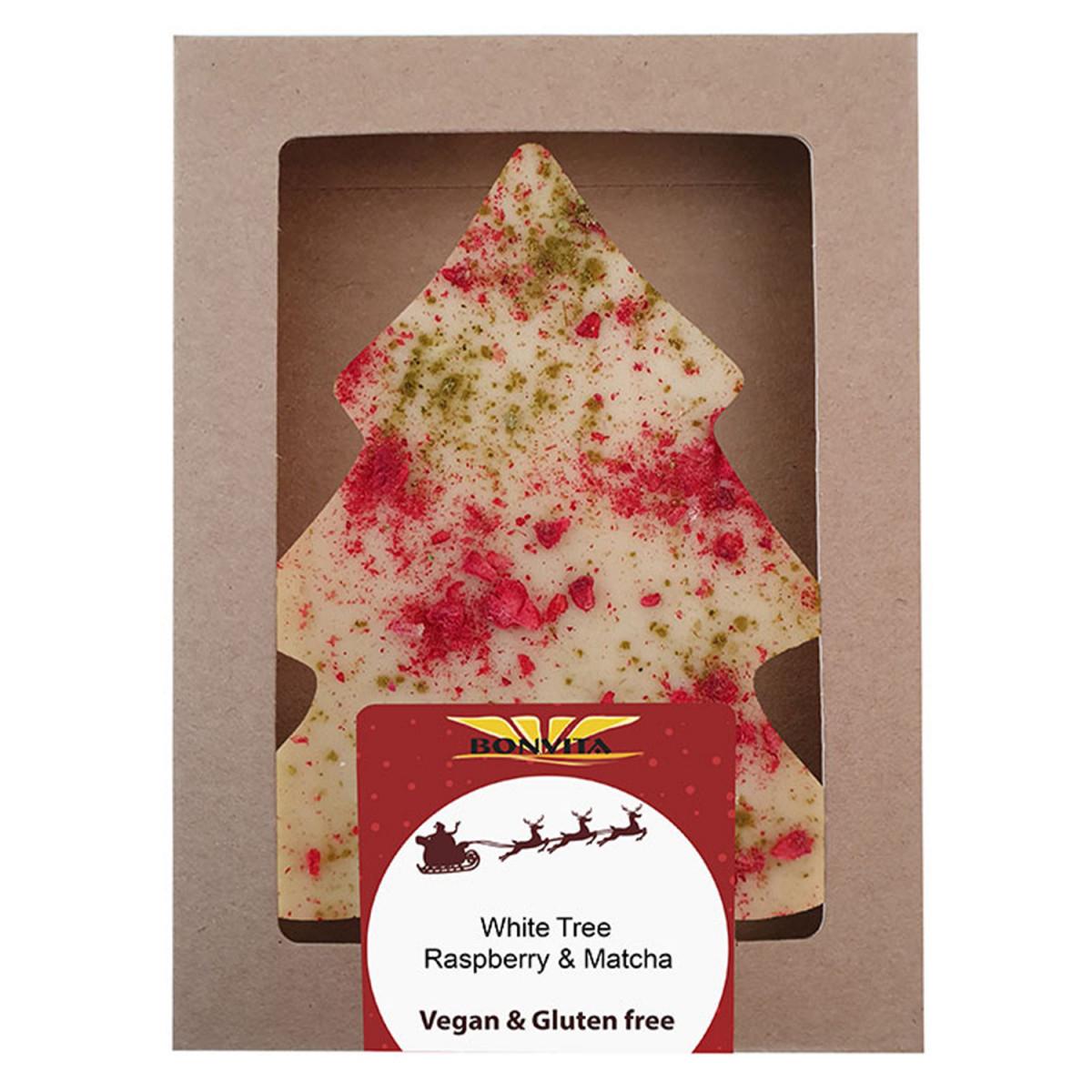 Vegan Chocolade Kerstboom Framboos & Matcha Wit