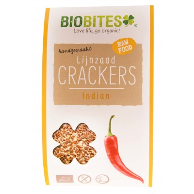 Biobites Lijnzaad Crackers Indian 30 gram