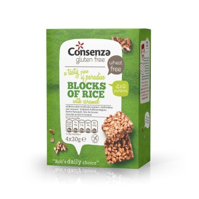 Consenza Chocolade Rijstblokken Caramel