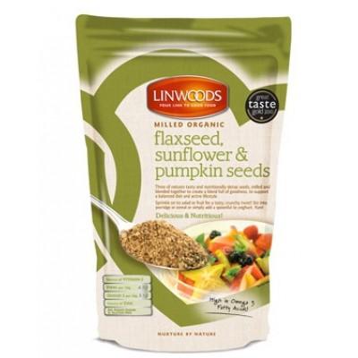 Linwoods Gemalen Lijnzaad, Zonnebloem- en Pompoenpitten 425 gram (groen)