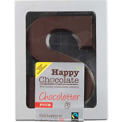 Happy Chocolate Chocoletter Puur Maisstroop Gezoet