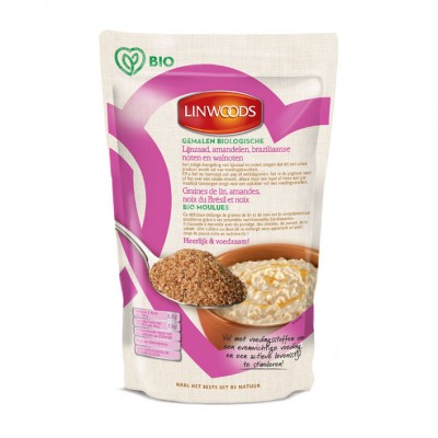 Linwoods Gemalen Lijnzaad, Amandelen, Braziliaanse noten en walnoten 200 gram (roze)