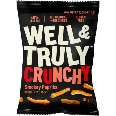 Well & Truly Corn Snacks Crunchy Smokey Paprika 100 gram