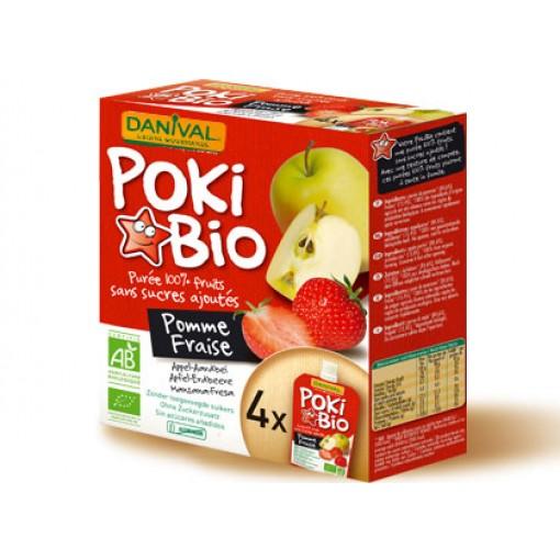Knijpfruit Poki Bio Appel-Aardbei van Danival