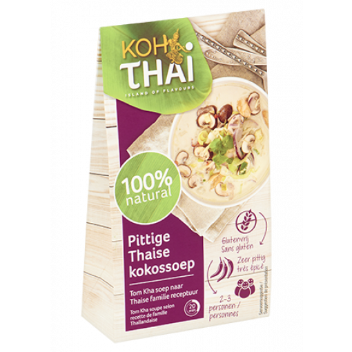 Pittige Thaise Kokossoep (Tom Kha) van Koh Thai