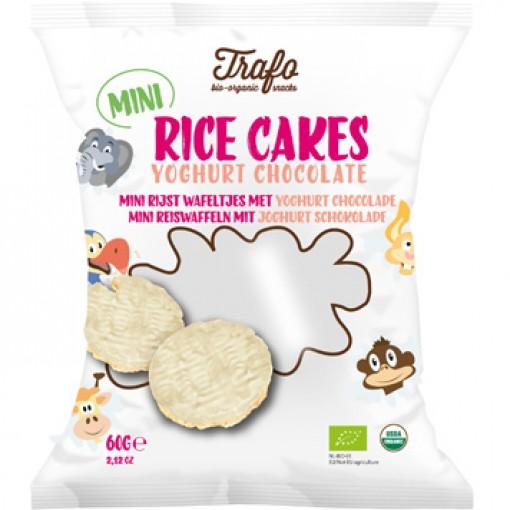 Mini Rijstwafeltjes Met Yoghurt Chocolade van Trafo