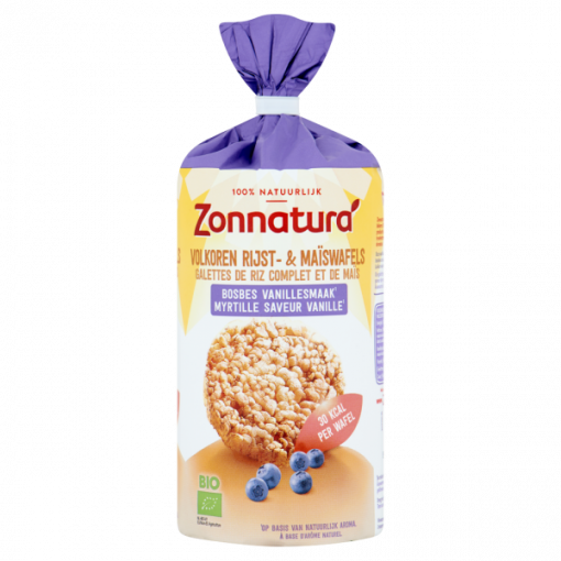 Rijst & Maiswafels Bosbes Vanillesmaak van Zonnatura
