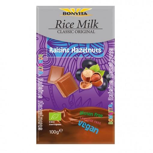 Bonvita Rijstmelk Chocoladetablet Rozijn & Hazelnoot