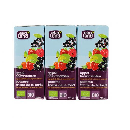 Ekoland Appel-Bosvruchtensap 3x200 ml