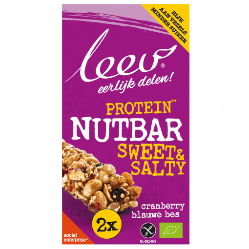 Leev Protein Nutbar Cranberry & Blauwe Bes