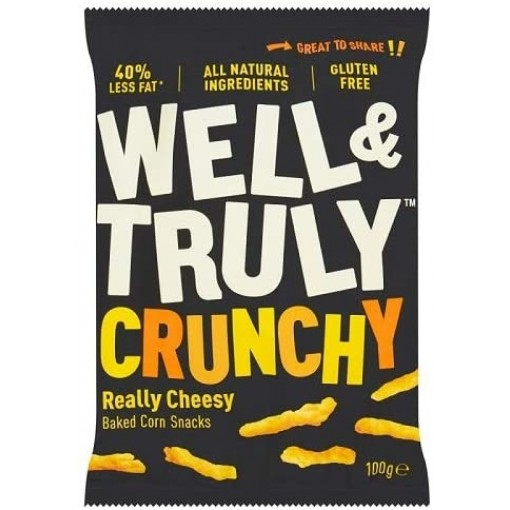 Well & Truly Corn Snacks Crunchy Really Cheesy 100 Gram