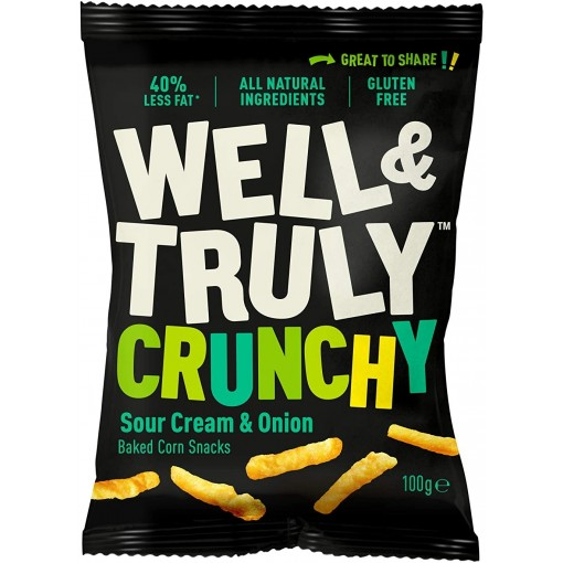 Well & Truly Corn Snacks Crunchy Sour Cream & Onion 100 gram