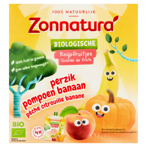 Zonnatura Knijpfruit Banaan Pompoen Perzik