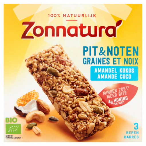 Zonnatura Pit & Noten Amandel Kokos Repen 3-Pack
